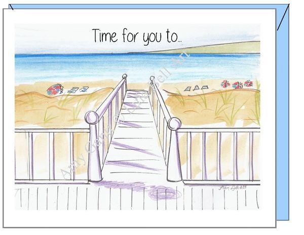 Congratulations/Retirement - Beach Walk Greeting Card