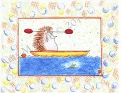 Hedgehog Kayaking Boxed Note Cards