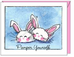Get Well - Bunny Slippers Greeting Card