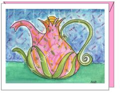 Get Well - Pink Teapot Greeting Card