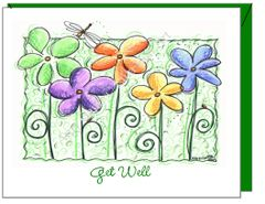 Get Well - 5 Friends, 5 Flowers Greeting Card