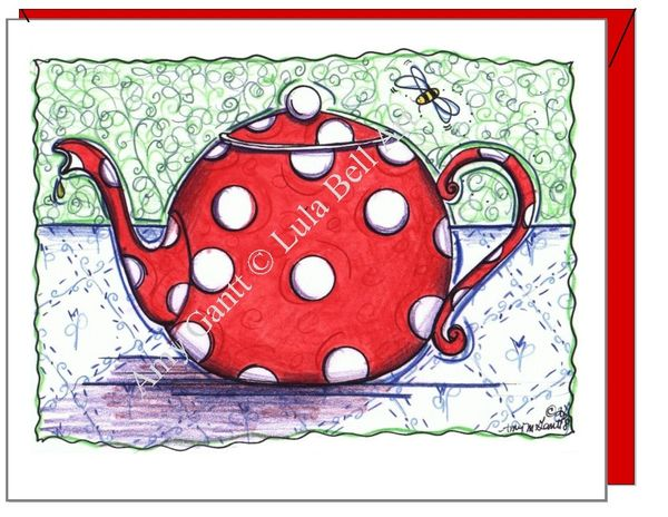 Get Well - Red Polkadot Teapot Greeting Card