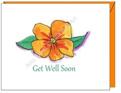 Get Well - Orange Coastal Flower Greeting Card