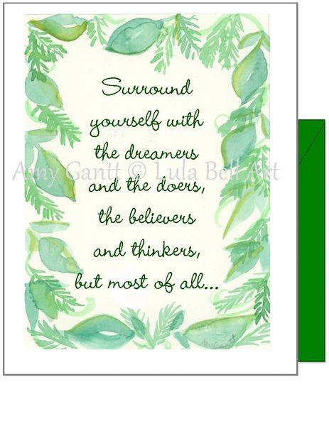 Encouragement - Green Leaf Boarder Greeting Card