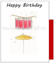 Birthday - Birthday Greeting Card Drum and Cymbal