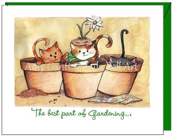 Friendship - Gardending Kitties Greeting Card