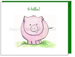 Thinking of You - Piggy Hello Greeting Card