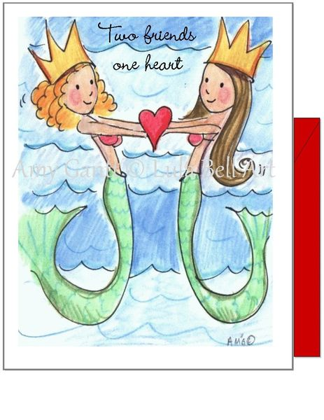 Friendship - Beach Mermaid Friends Greeting Card