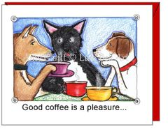 Friendship - Dogs Drinking Coffee Greeting Card