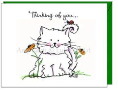 Thinking of You - Spring Kitty Greeting Card