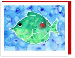 Thinking of You - Green Fish Greeting Card