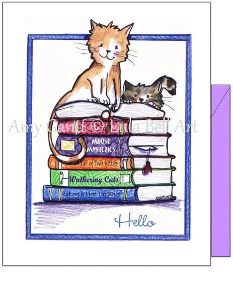 Blank Inside - Cats on Books Greeting Card