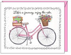 Blank inside - Pink Bike Greeting Card