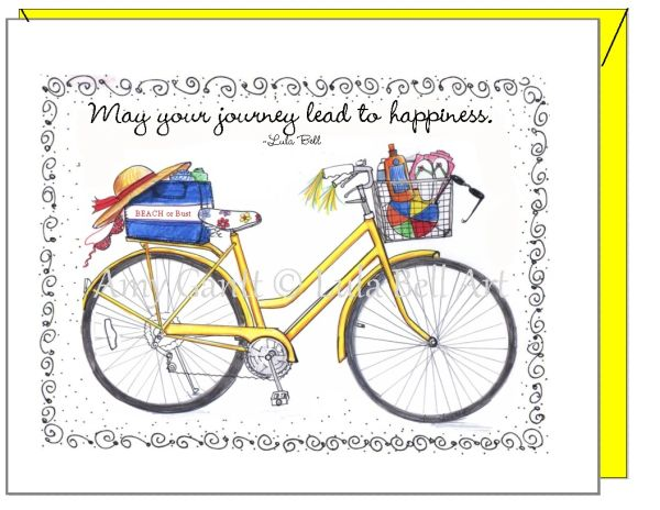 Blank inside - Yellow Bike Greeting Card
