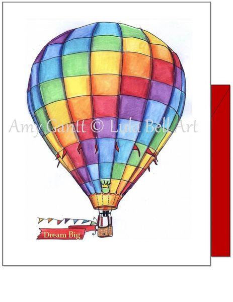 Encourgement - Rainbow Hot Air Balloon Greeting Card