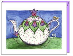 Thank you -Violet Teapot Greeting Card