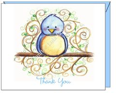 Thank you -Blue Bird Greeting Card