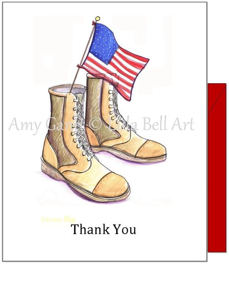 Thank you -Military Boots Thank You Greeting Card
