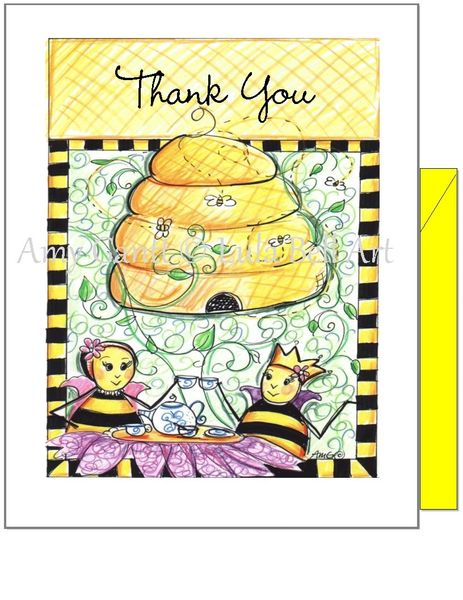 Thank you -Queen Bee Having Tea Greeting Card