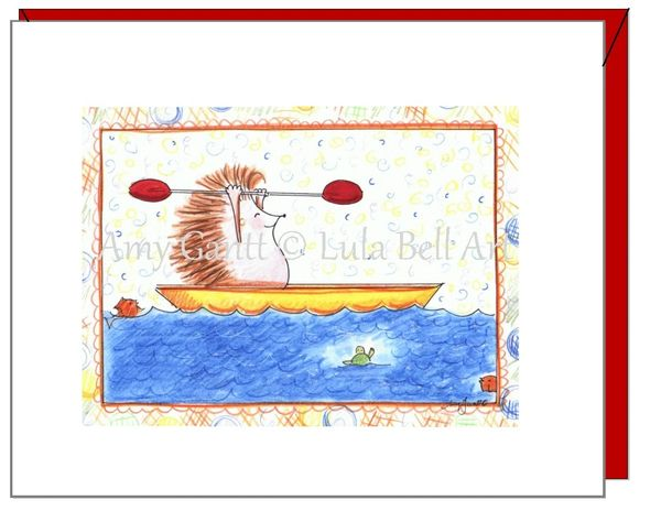 Thank you -Hedgehog Kayaking Greeting Card