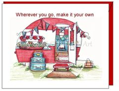 New Home - Red Camper Greeting Card