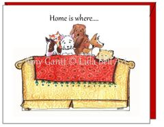 New Home- Dogs on the Davenport Greeting Card