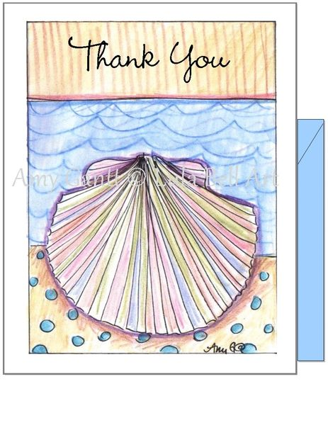 Thank you - Beach Rainbow Shell Greeting Card