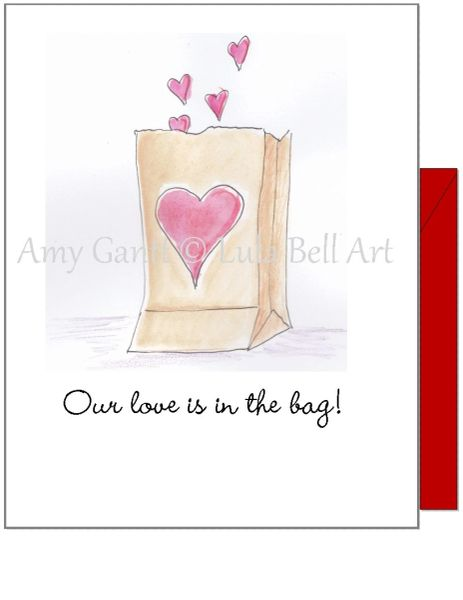 Valentine - Love is in the Bag Greeting Card