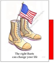 The right boots can change your life Military Boot Boxed Note Cards