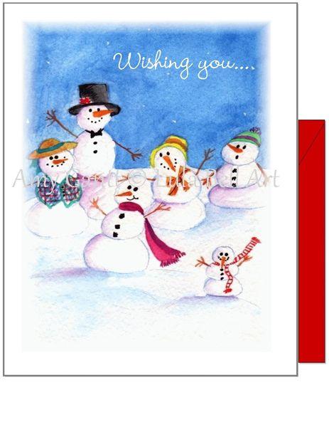 Seasons Greetings - Snowman Family Card