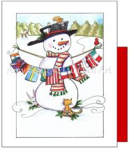 Holiday - Snowman with Flags Greeting Card