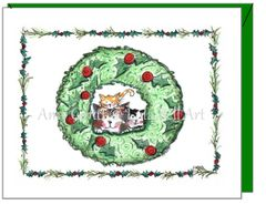 Christmas - Kitties in the Wreath Greeting Card