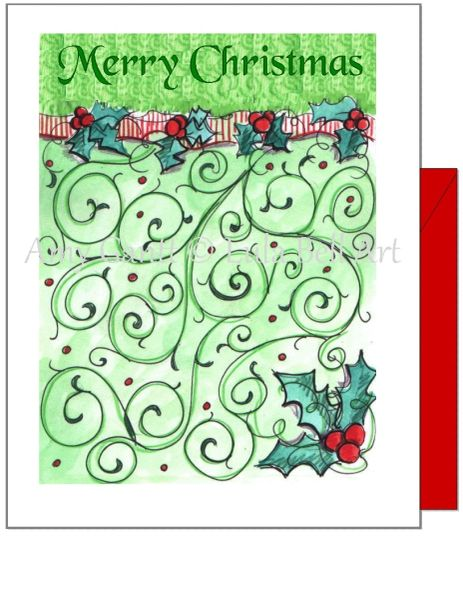 Christmas - Holly Greeting Card