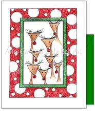 Christmas - 8 Tiny Reindeer Greeting Card