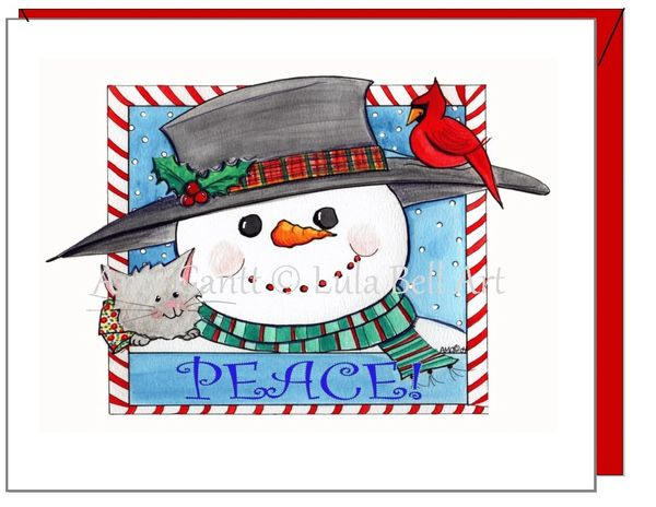 Holiday - Peace Snowman Greeting Card