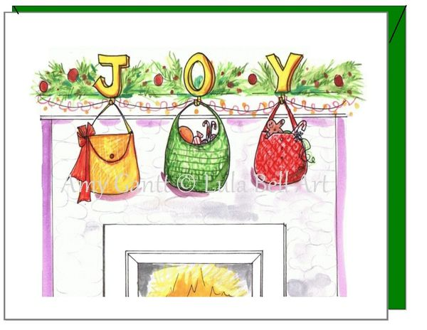 Christmas - JOY purses Greeting Card