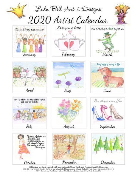 2020 Lula Bell Artist Desk Calendar Refill
