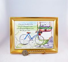 5 x 7 Framed Bike Art Print - Irish Blessing