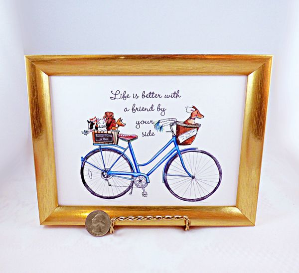 5 X 7 Framed Art Print - Blue Bike with Dogs