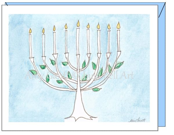 Hanukkah - Menorah Tree Greeting Card
