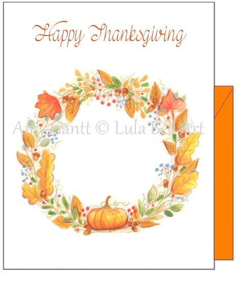 Thanksgiving - Autumn Wreath with a Pumpkin Greeting Card