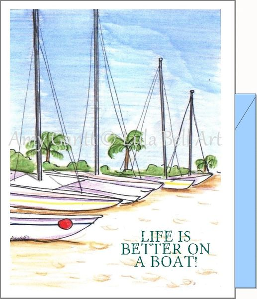 Beach Boats Note Cards