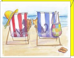Cat and Dog by the Sea Note Cards