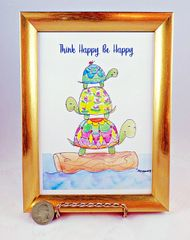 5 x 7 Framed Turtle Art Print - Think Happy, Be Happy.