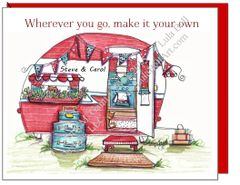 Vintage Camper Red Boxed Note Cards
