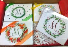 A Monogram Gift Note Cards - 4 Season Wreath Monogram Boxed Gift Set