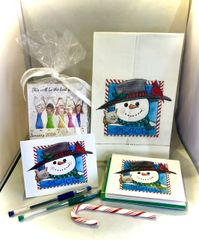 Holiday Gift Box - Peace Snowman with Red Bird and Cat Stationery, Calendar and Towel set