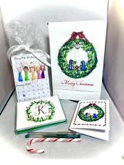 Holiday Gift Box - Holy Family and Christmas Wreath Stationery, Calendar and Towel set