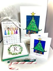 Holiday Gift Box - Christmas Tree Stationery, Calendar and Towel set