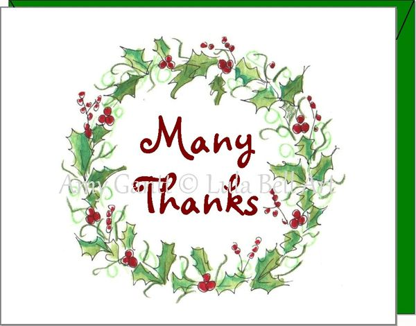 Thank You - Many Thanks Wreath Note Cards